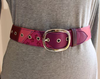 women leather belt. Pink leather belt; leather belt; (ET.4) leather belt