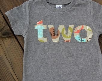 Woodland Camping Second Birthday Shirt, Second Birthday Shirt, Boys Birthday Shirt, Two Shirt, 2T Ready to Ship, Birthday Shirt