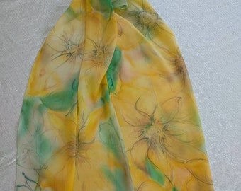 Hand painted silk scarf - Sunflower silk scarf - Yellow silk scarf - Japanese chiffon silk - birthday gift - ready-to-ship - free shipping