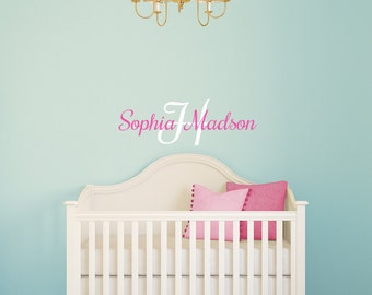 Baby Monogram Decal Nursery Room Wall Decal / Crib Wall / Vinyl Monogram / Wall Vinyl / Baby Vinyl Decal / Name Wall Decal