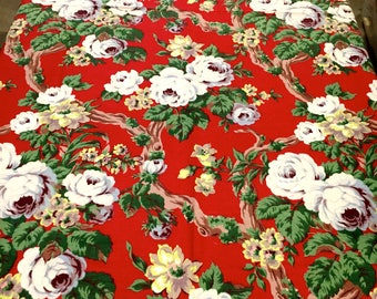 Summer Floral Barkcloth with an Old Hollywood Vibe// Vintage 40s Fabric// Cotton Yardage// Upholstery// Drapery//New Old Stock// BTY 6 YDS