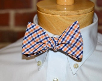 Navy and Orange Tattersall Bow Tie~Mens Self Tie Bow Tie~Mens Pre-Tied~Anniversary Gift~HoBo Ties~Cotton Bow Tie~Wedding~