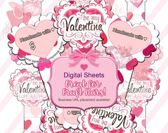 Valentine Gift Tags,Heart Jewelry Display Cards,Fold Over Heart Shaped Tags,Necklace Cards,Hang Tags,Printable Tags:Instant Download