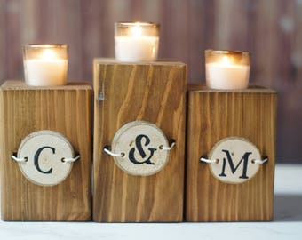 Personalized Wood Candle Holder, personalized home decor, couples gift, rustic home decor, Reclaimed Wood, Engagement gift, wedding gift