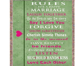 Rules for Happy Marriage Throw Blanket for Newly Wed Couples