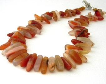 Carnelian Orange Stone Necklace Toggle Clasp 18 Inch Stick Necklace Dagger Necklace