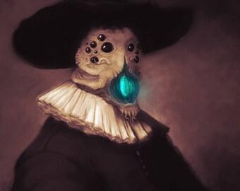 Rembrandt Azathoth   H.P. Lovecraft   Poster Print   Dark Horror Portrait