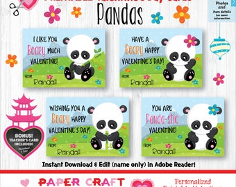 Panda Valentine Cards | Printable Classroom Valentines | Classroom Exchange Cards | By Paper Craft Valentines