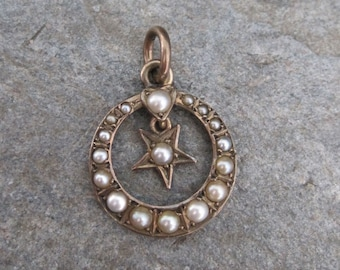 Antique Victorian Crescent Moon and Star Pendant in 9k Pink Gold - JL1083