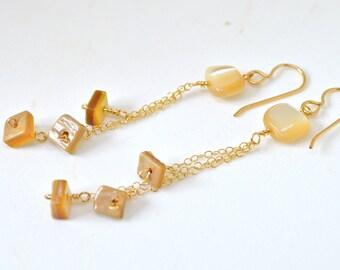 Dangling Shell Earrings, Gold Chain Earrings, Gold Dangle Earrings, Mother of Pearl Earrings, Shell Earrings