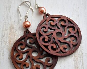 Wood Dangle Earrings, Pearl Earrings, Laser Cut Wood Filigree Peach Pearl Earrings, Peachy Orange Earrings, Wooden Dangle Earrings