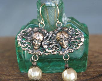 Vintage French Brass and Glass Pearl Earrings Nouveau Lady Sleeping Goddess