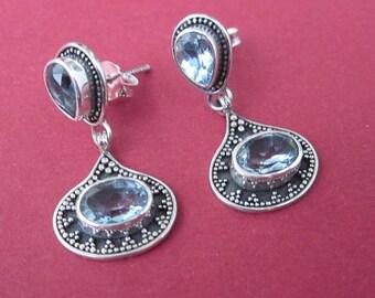 Sterling silver genuine blue topaz stud Earrings/ 1 inch / silver 925 / Bali handmade jewelry, sterling silver earrings stud , jewelry gift
