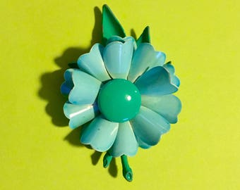 Beautiful 1970s Blue Flower Pin, great condition 3 3/4 inches tall