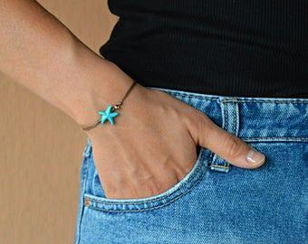 turquoise bracelet, Starfish bracelet, boho bracelets, starfish charm, nautical jewelry, summer bracelets, beach bracelets, beaded bracelets