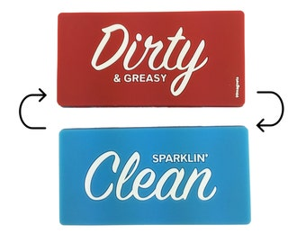 Office Gift:  Reversible Dishwasher Kitchen  Magnet Clean Dirty Indicator Flip Sign for Dish Washer Stocking Stuffer Christmas