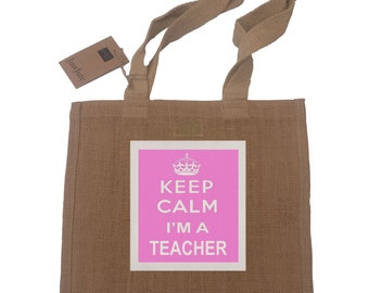 Teacher Gift Jute Compact Shopping Bag