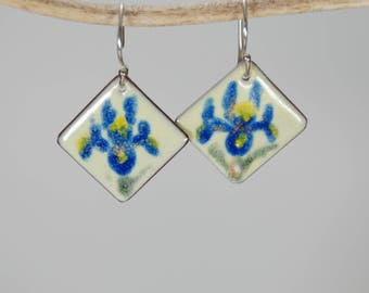 Spring Iris Hand Painted Torch-Fired Enamel Earrings