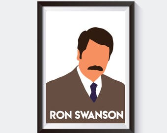 Ron Swanson Parks and Recreation Inspired Print Minimalist