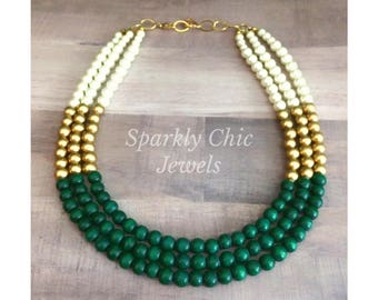 Green and Gold Color Block Necklace, Bridesmaid Jewelry, Wedding Jewelry, Statement Necklace, Multistrand Necklace, Beaded Necklace