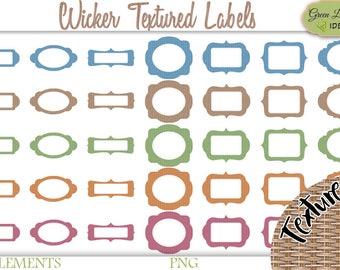 Printable Labels Clipart, Wicker Digital Labels, Label Shapes Printable, Scrapbook Labels Set, Labels Digital Clipart, Rustic Labels Kit