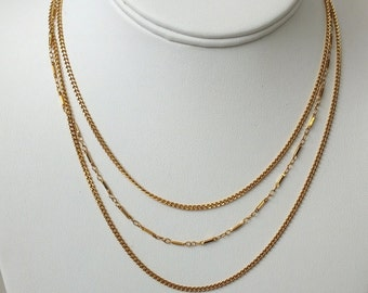 Vintage Gold Tone Triple Strand Delicate Monet Necklace - Free Shipping