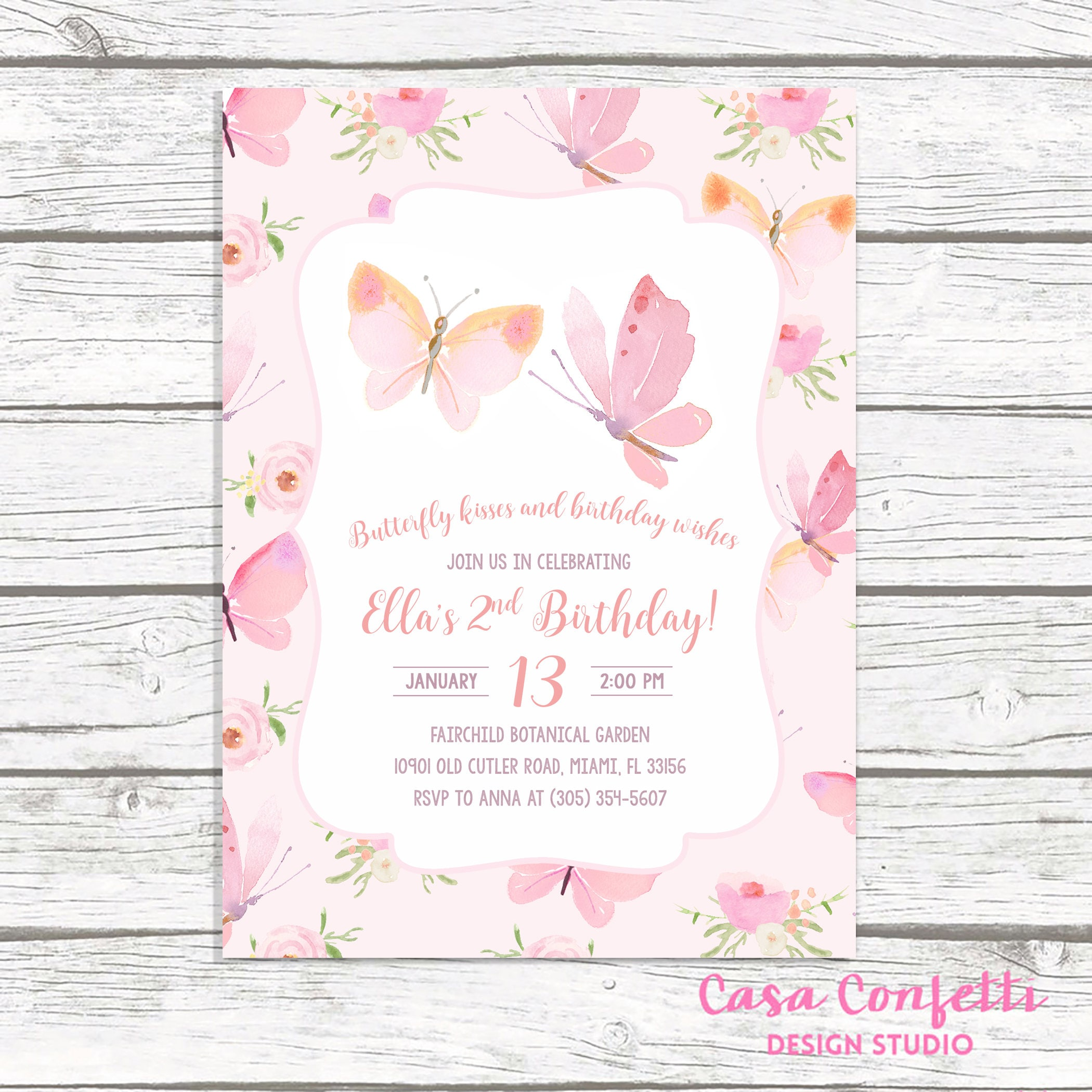 Butterfly Birthday Invitation, Butterfly Invitation, Pink Butterfly ...