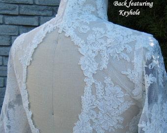 Lace Bridal Bolero, Keyhole design at back, 3/4 sleeves with Scallop Trim