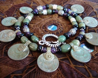Ethnic Tribal Coin Necklace with Amethyst and Jade