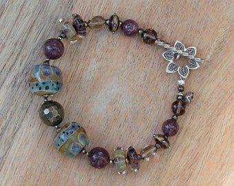 ZenHappy Olive Green and Plum Bracelet -  Handmade Lampwork Beads, Pyrite, Lepidolite, Smoky Quartz  and Sterling Silver - Statement Jewelry