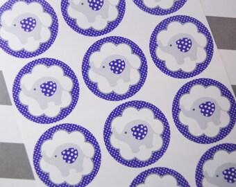 Gray Elephant Stickers Envelope Seals Purple Favor Stickers Birthday Stickers Party Stickers Baby Shower Stickers SES357