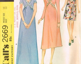misses high waisted dress with long or short sleeves, ruffles, and back zipper sewing pattern size 16 bust 38 vintage 2669 mccalls 1970s