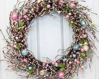 storm door wreath easter wreath pearl easter egg pip berry wreath spring front - Easter Wreaths