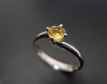 Classic Engagement Ring with Yellow Sapphire in 14K White Gold, Yellow Sapphire Ring, Solitaire Ring, Solitaire Engagement Ring, Unique Ring