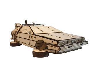 DeLorean DMC-12 Kit, Time Machine, Back To The Future, Laser Engraved, Wooden Model, Miniature, Movie, Present, Gift, Hobby, DIY