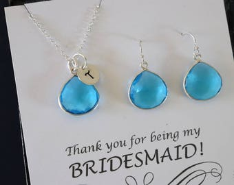 9 Monogram Bridesmaid Necklace and Earring set Zicron Blue, Bridesmaid Gift, Blue Quartz, Sterling Silver, Initial Jewelry, Personalized