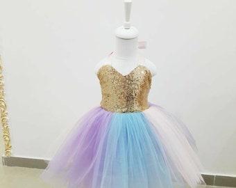 Girls sequin birthday dress, unicorn theme dress, 1st birthday dress, baby sequin dress, romper tulle baby dress, girls sequin halter drress