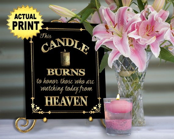 Candle Burns for those in heaven wedding print