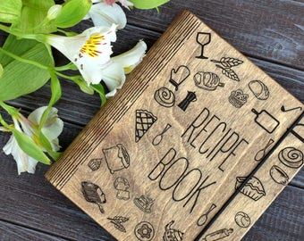 Custom Recipe Book Binder Bridal Shower Gift Mothers Day Personalized Gift From Daughter Wooden Notebook Gift for Bride Journal Cookbook