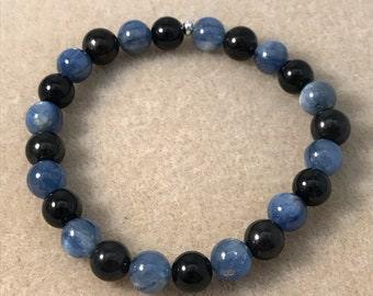 Kyanite Shungite Black Tourmaline Bracelet, Reverse Polarity Bracelet, Beaded Bracelet, Bead Bracelet, Stretch Bracelet, 8mm Bracelet