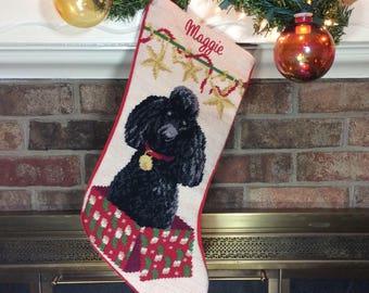 Black Poodle Dog Stocking, dog stocking, Personalized Christmas stockings, Black Poodle needlepoint stocking, Christmas stocking