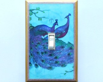 PEACOCK Outlets & Peacock Switchplates w/ Matching Screws- Peacock wall decor peacock switchplate peacock wallpaper peacock art trading card