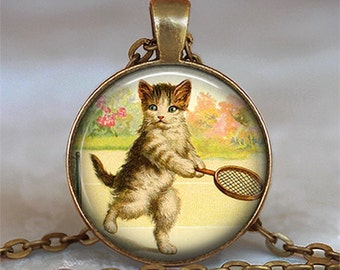 Tennis Kitten pendant, cat jewelry, cat necklace, cat jewelry tennis pendant tennis player's gift key chain key ring key fob keychain