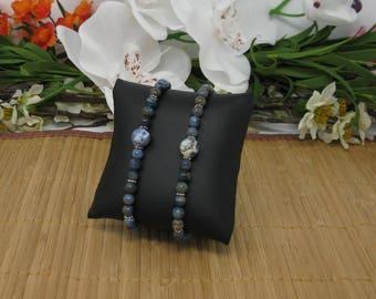 Dumortierite and Sodalite Bracelet, Wrist Mala, 27 Bead