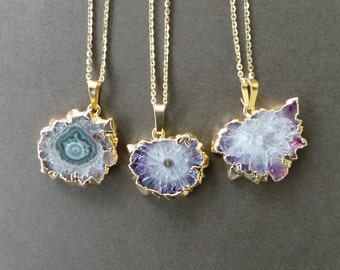 "Amethyst Stalactite Crystal Druzy Slice Gold Dipped Electroplated Pendant Necklace 18"" A"