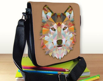 Geometric Wolf Small Shoulder Bag, Triangle Wolf, Small Crossbody Bag, Small CrossBody Purse, Cross Body Bag, Sling Bag, Small Purse, Wolf