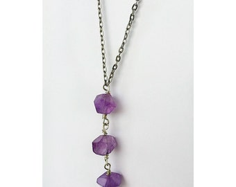 Amethyst lariat Y necklace with silver plated chain and swarokski crystal/great layering necklace