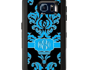 Custom OtterBox Defender for Galaxy S5 S6 S7 S8 S8+ S9 S9+ Note 5 8 Any Color / Font - Blue Black White Damask Ribbon
