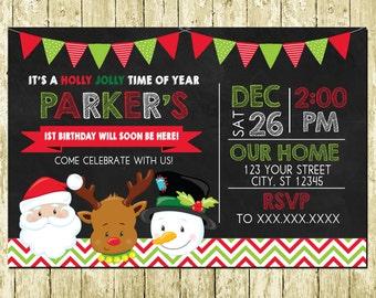 Christmas Santa Claus Chalkboard Digital Birthday Invitations