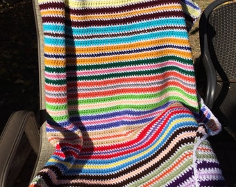 Color blocks crochet afghan large blanket and throw